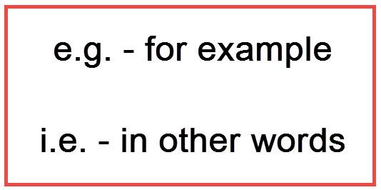 e.g. and i.e. meanings