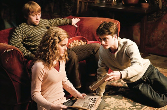 Rupert Grint, Daniel Radcliffe, and Emma Watson in Harry Potter and the Half-Blood Prince
