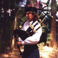 Janny playing the bagpipes