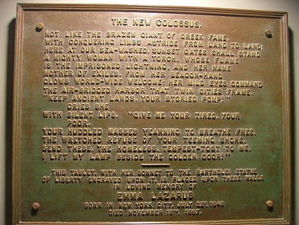 The New Colossus Poem plaque