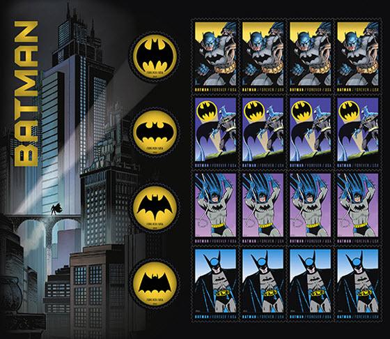 2014 US Postal Service Batman stamps pane