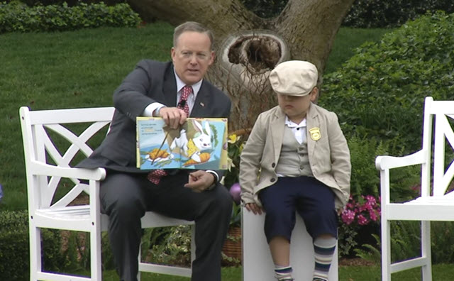 Sean Spicer reading at White House Easter Egg Roll
