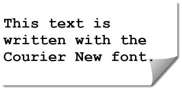 Typewriter text written with Courier New font